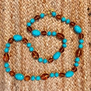 Joan Rivers Turquoise & Amber Glass Bead Necklace